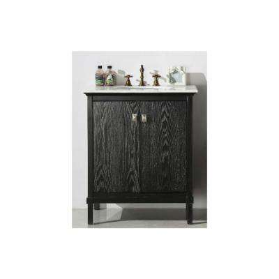 30 in. Vanity in Antique Black with Marble Top with White Basin
