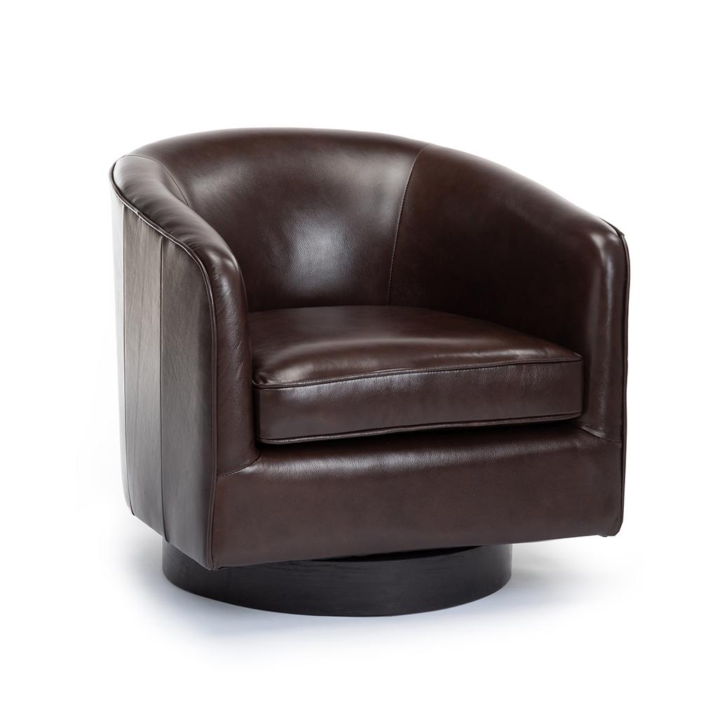 Turner Brown Top Grain Leather Swivel Chair