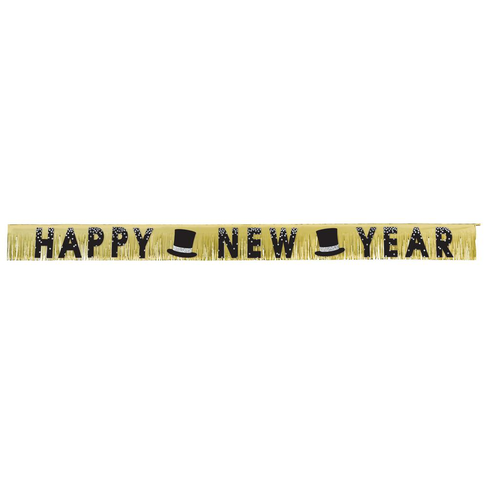 7.5 in. New Year's Foil Fringe Banner in Black, Silver, and