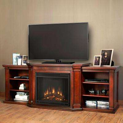 Valmont 76 in. Media Console Electric Fireplace TV Stand in Dark Mahogany