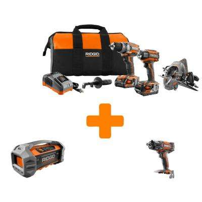 GEN5X 18-Volt Lithium-Ion Brushless Cordless Combo Kit (3-Tool) with Bonus Bluetooth Radio and Impact Wrench Bare Tools