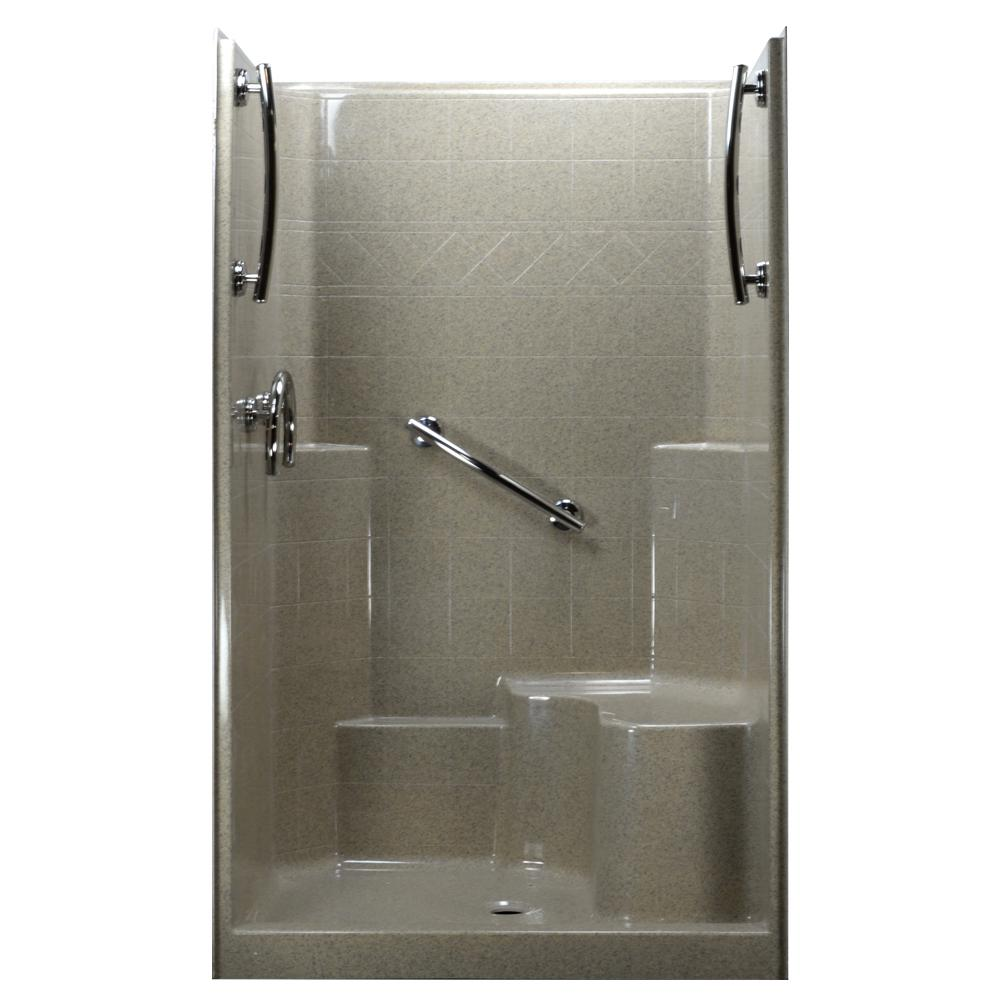 Ella 48 in. x 37 in. x 80 in. 1-Piece Low Threshold Shower Stall in ...