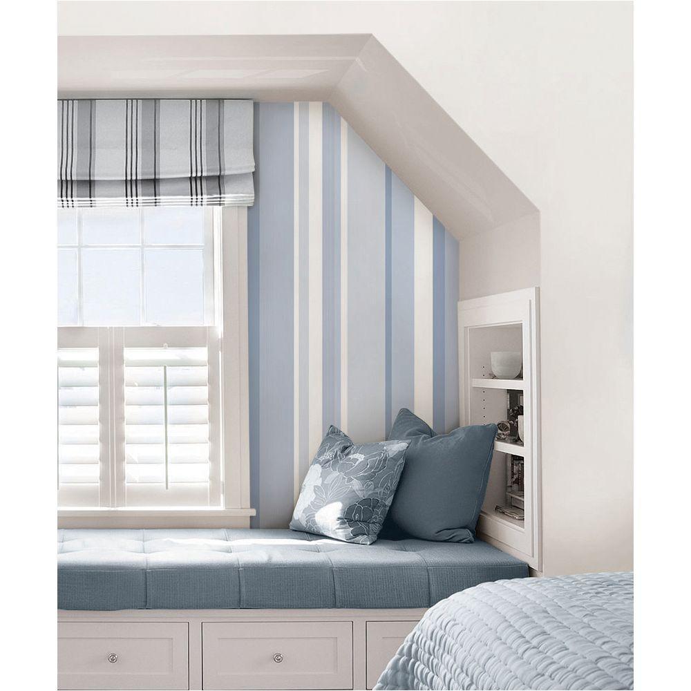 NuWallpaper Blue Awning Stripe Peel And Stick Wallpaper ...