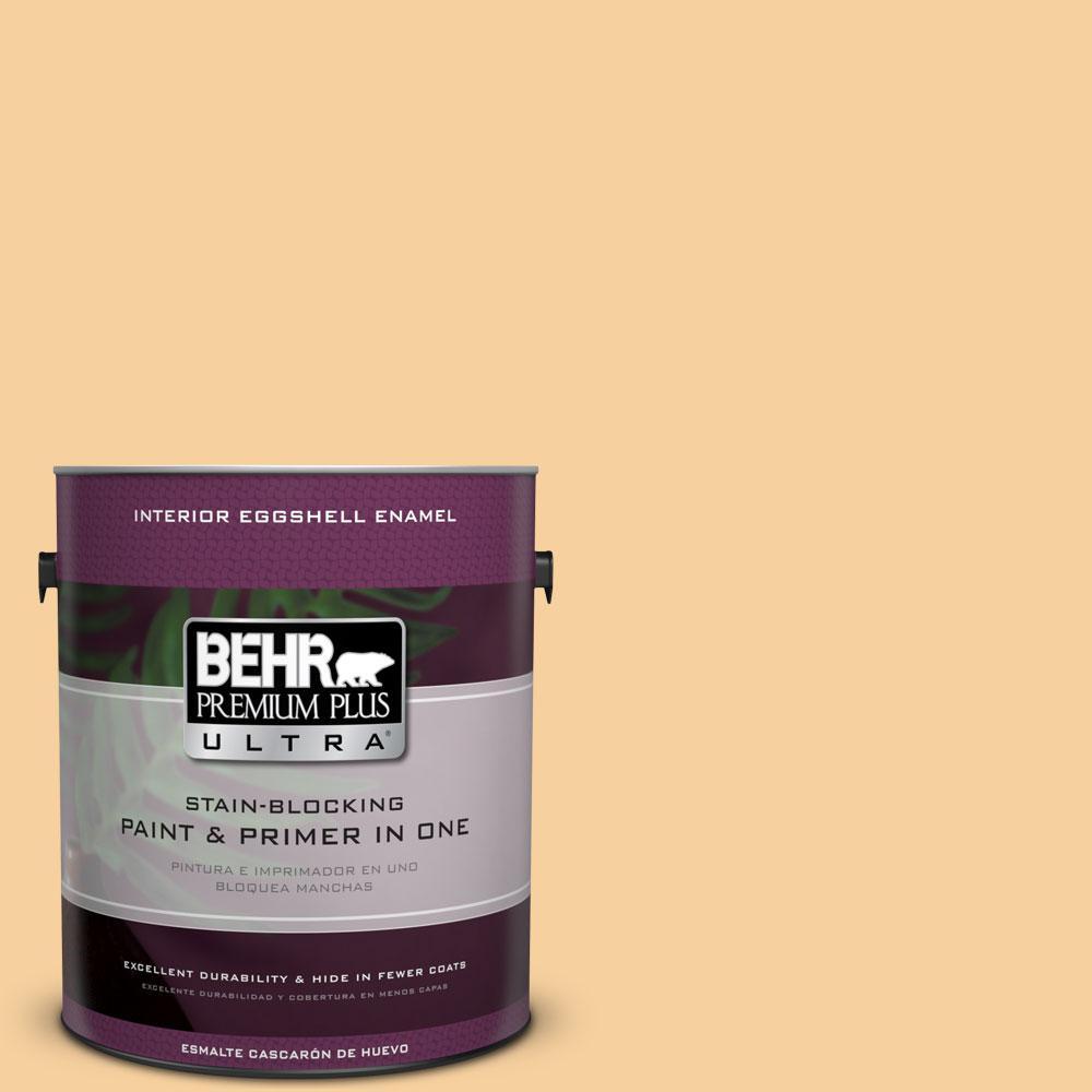BEHR Premium Plus Ultra 1-gal. #320C-3 Honey Butter Eggshell Enamel Interior Paint, Yellows/Golds
