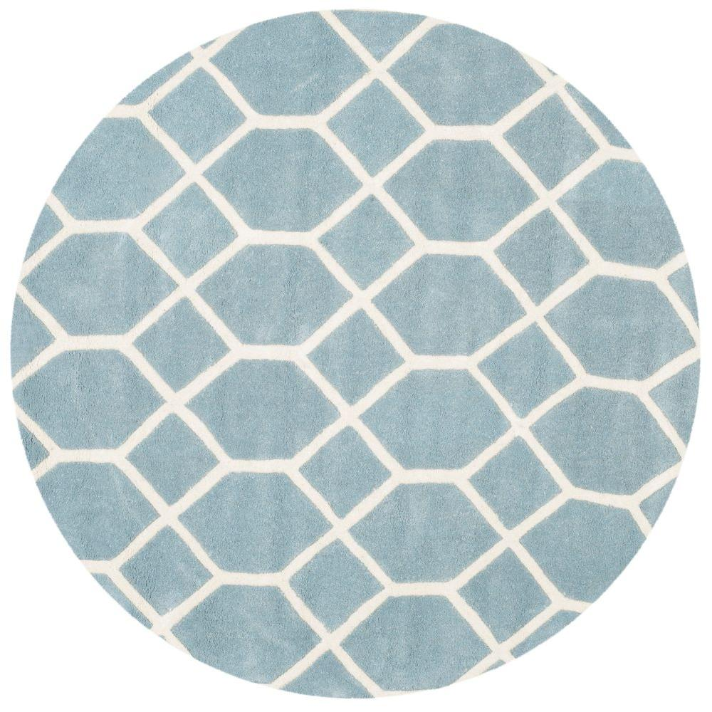 Safavieh Chatham Blue Ivory 5 Ft X 5 Ft Round Area Rug