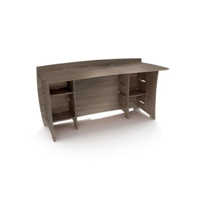 60 in. Grey Driftwood Straight Desk Solid Wood with No Tools Assembly