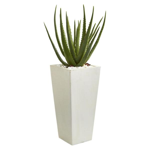 Indoor 29-In. Aloe Artificial Plant in White Planter