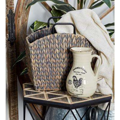 Gray Woven Seagrass-Framed Magazine Holders (Set of 2)