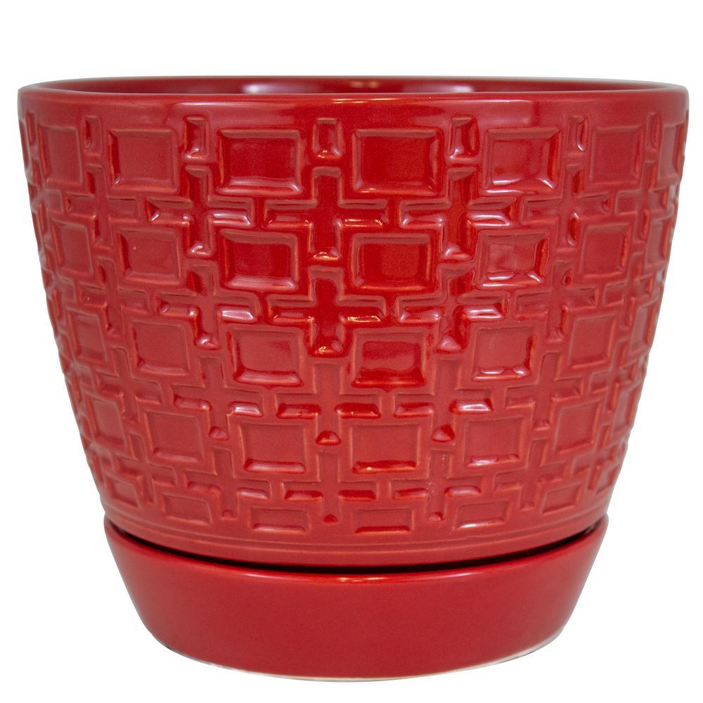 9 in. Red Cubelinx Ceramic Planter