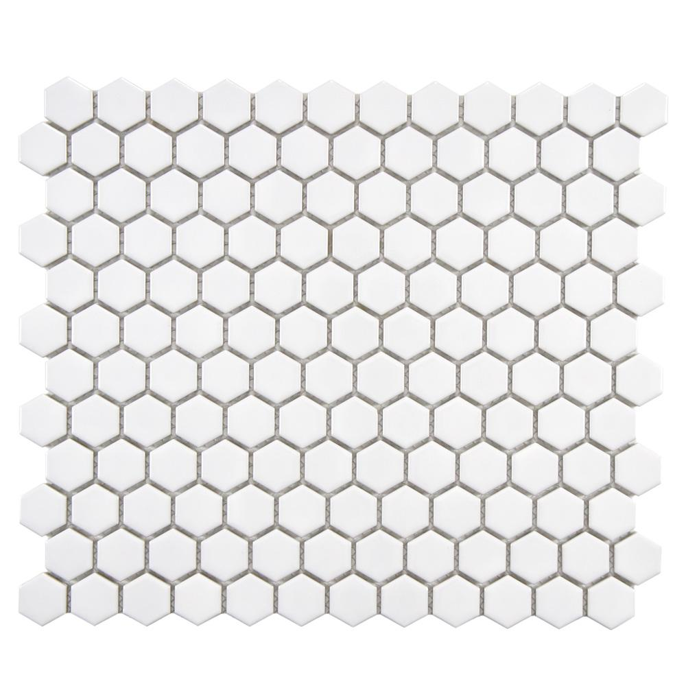 Merola Tile Metro Hex Glossy White 10-1/4 in. x 11-3/4 in. x 5 mm Porcelain Mosaic Tile (8.54 sq. ft. / case)