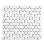 "Metro 1"" Hex Glossy White 10-1/4 in. x 11-7/8 in. Porcelain Mosaic Tile (8.65 sq. ft. / case)"