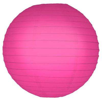 10 in. Round Fuchsia Paper Lanterns (5-Count)