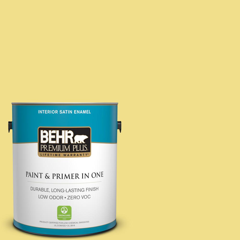 1 gal. #HDC-SP16-03 Lemon Curd Zero VOC Satin Enamel Interior Paint