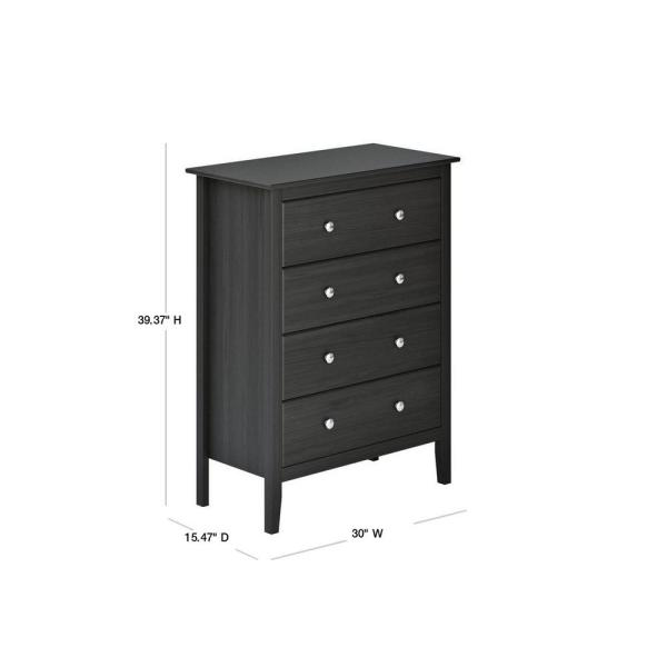 Adeptus Usa Easy Pieces 4 Drawer Black Chest Of Drawers 39 37 In H X 30 In W X 15 47 In D 77248 The Home Depot