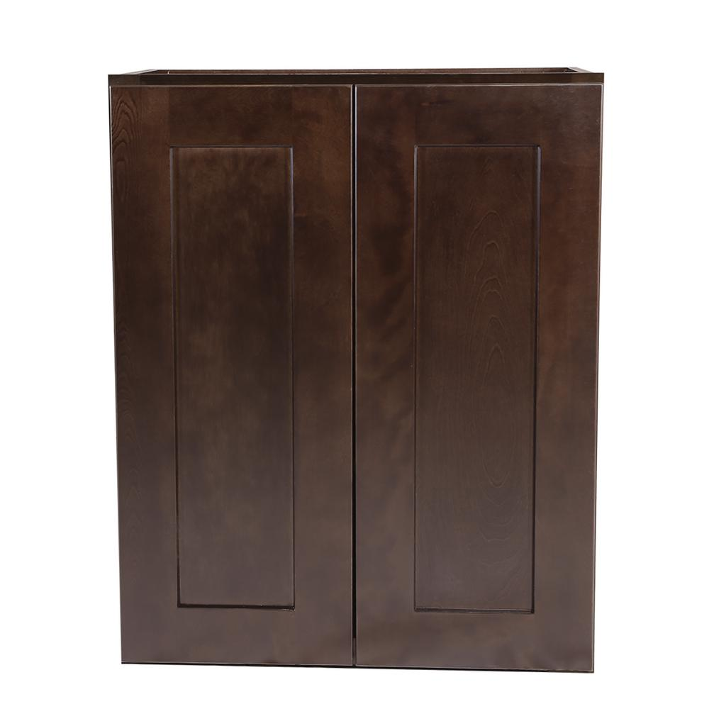 Brookings fully assembled 24x24x12 in kitchen wall cabinet in espresso