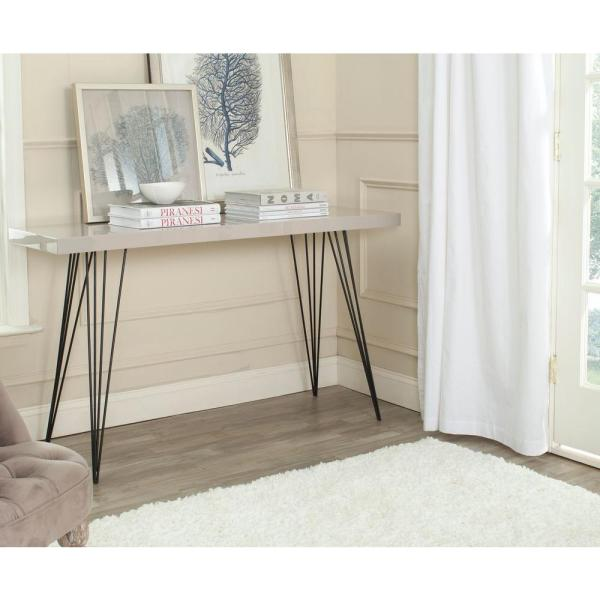 Wolcott Taupe and Black Console Table