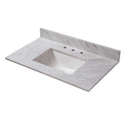 37 in. W x 22 in. D Marble Vanity Top in Carrara with White Trough Basin