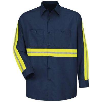 Men's Medium Navy with Yellow/Green Visibility Trim Enhanced Visibility Industrial Work Shirt