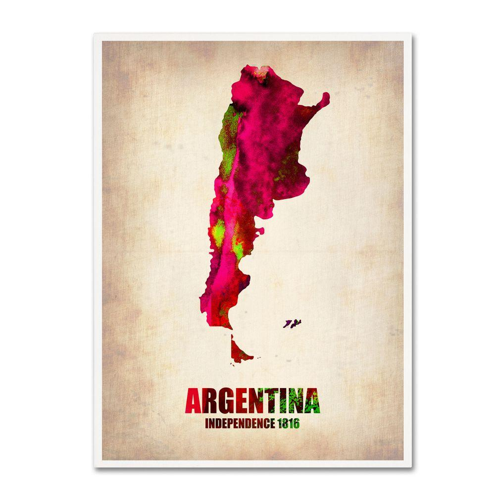 19 in. x 14 in. Argentina Watercolor Map Canvas Art