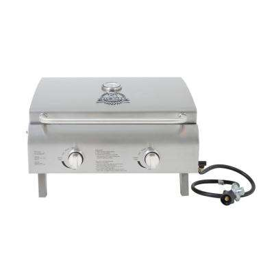 Two-Burner Stainless Steel Portable LP Gas Grill