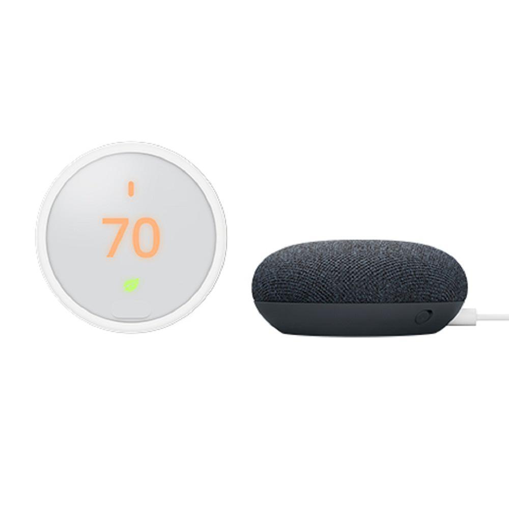 Nest Thermostat E + Nest Mini (2nd Gen) Smart Speaker Charcoal