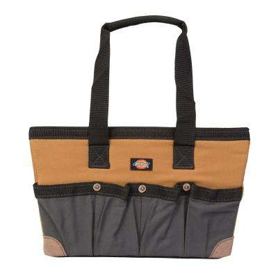16 in. Soft Sided Construction Work Bin Tool Tote, Grey/Tan