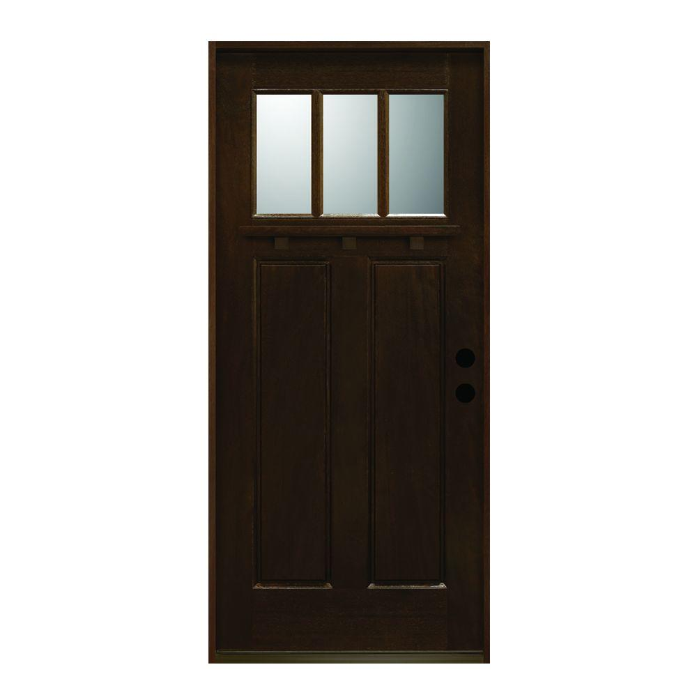 36 in. x 80 in. Craftsman Collection 3 Lite Prefinished Antique