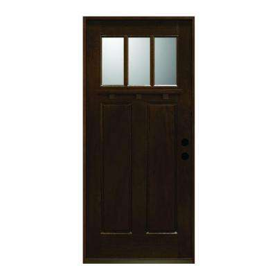 36 in. x 80 in. Craftsman Collection 3 Lite Prefinished Antique Mahogany Type Solid Stained Wood Prehung Front Door