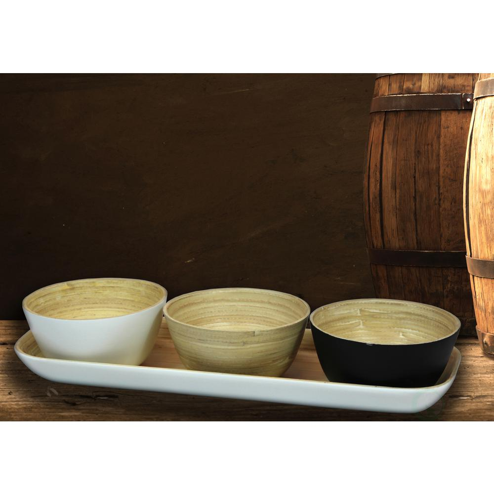 Basicwise White Bamboo Tray with Tricolor Bowls in Natural Black and White  sc 1 st  The Home Depot & Basicwise White Bamboo Tray with Tricolor Bowls in Natural Black ...