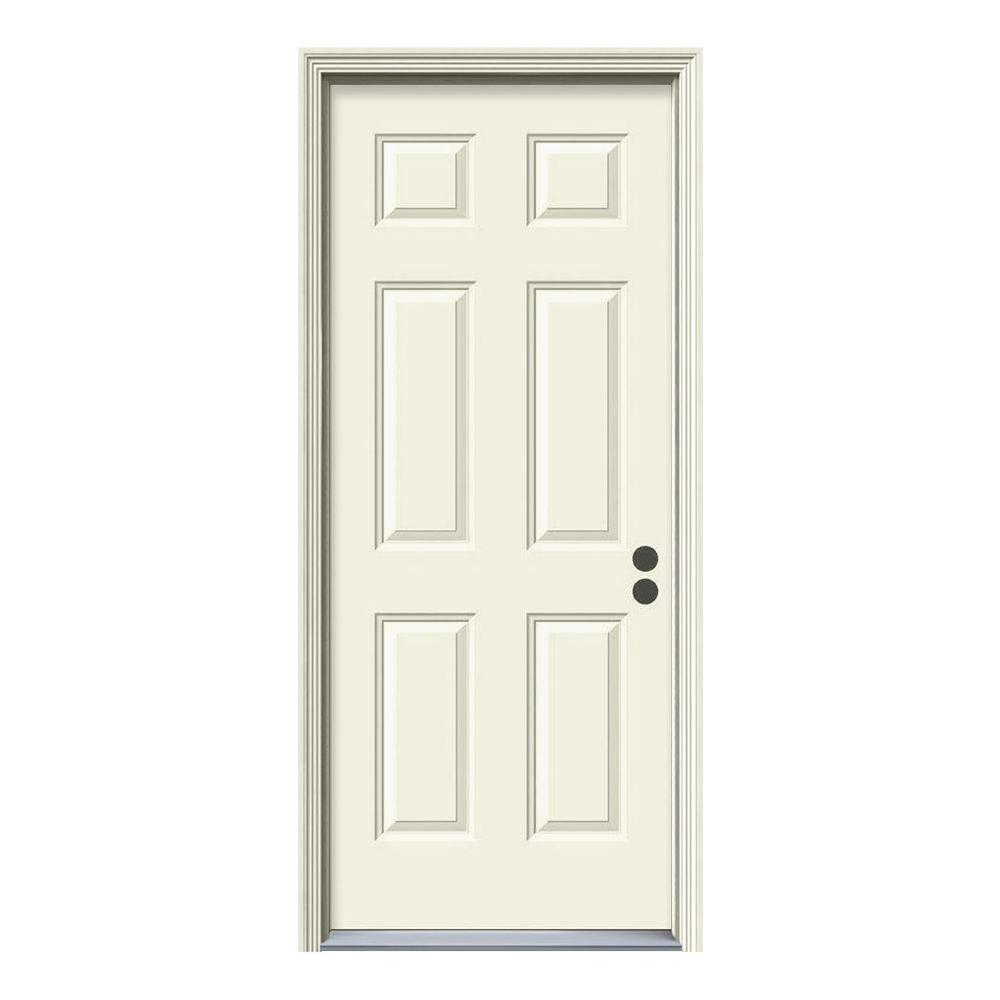 36 in. x 80 in. 6-Panel Primed Steel Prehung Left-Hand Inswing Front Door w/Brickmould