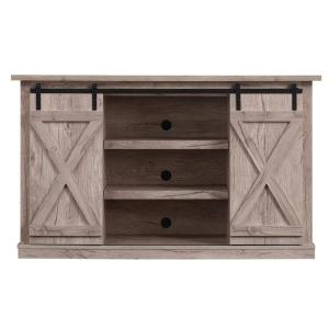 Cottonwood 54 in. Ashland Pine Wood TV Stand Fits TVs Up to 60 in. with Storage Doors