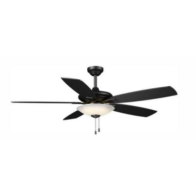 Menage 52 in. Integrated LED Matte Black Fan with Light and Remote Control works with Google and Alexa