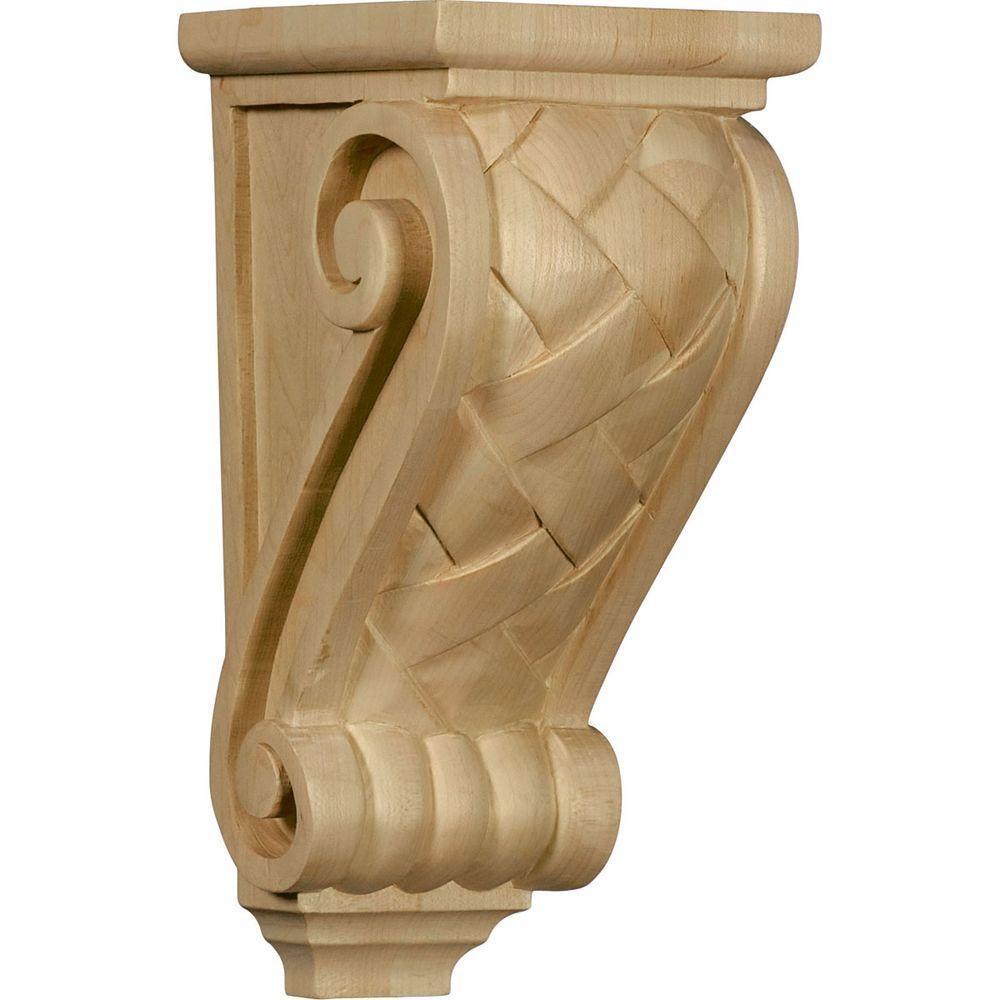 5 in. x 4-1/2 in. x 10 in. Unfinished Wood Red Oak Medium Basket Weave Corbel