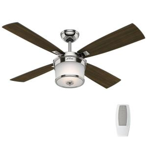Hunter Kimball 52 inch LED Indoor Polished Nickel Ceiling Fan with Light Kit and Universal Remote by Hunter