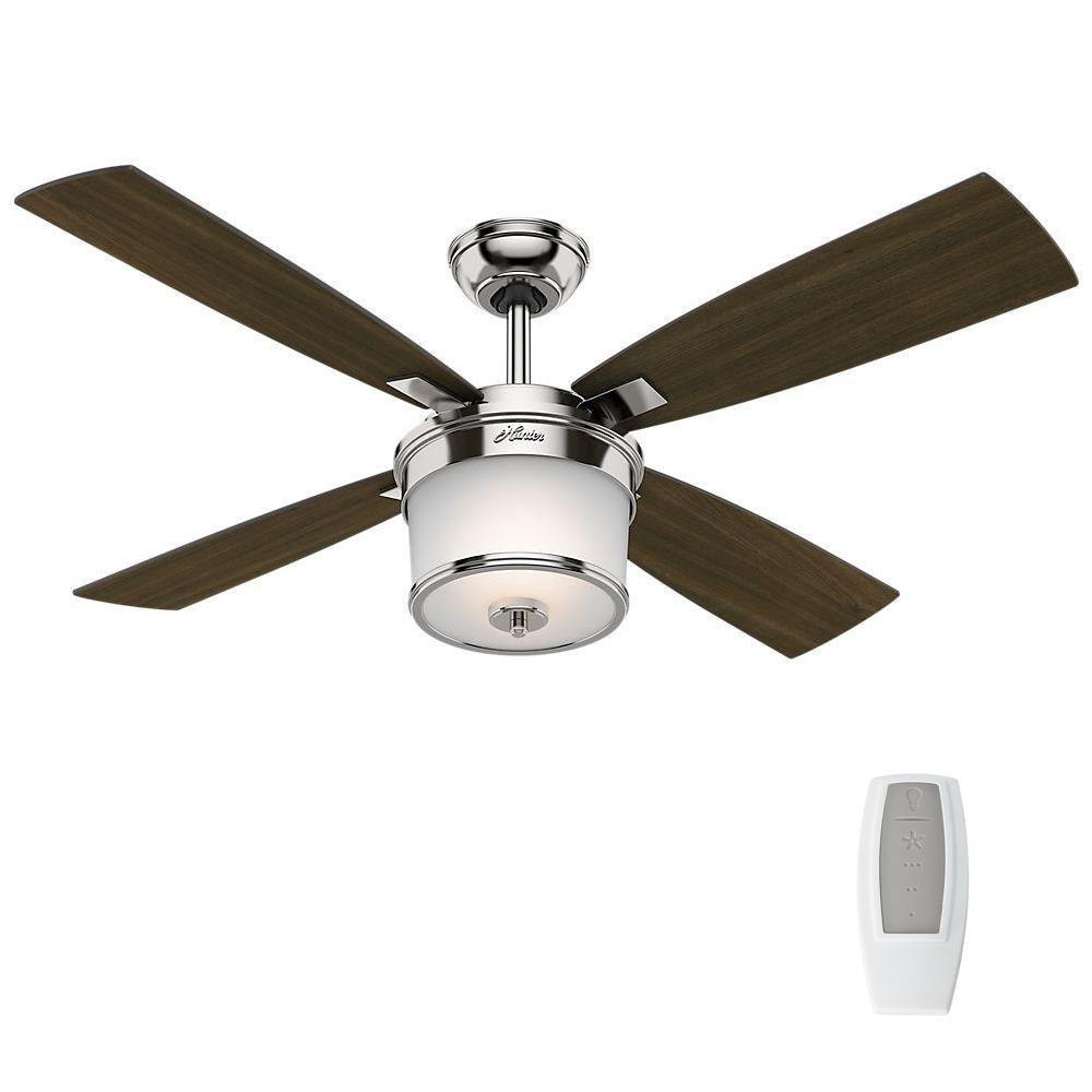 Hunter Kimball 52 In Led Indoor Polished Nickel Ceiling Fan With Light Kit And Universal Remote