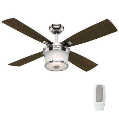 Transitional 4 blades angle mount hardware ceiling fans with led indoor polished nickel ceiling fan with light kit and universal remote aloadofball Images