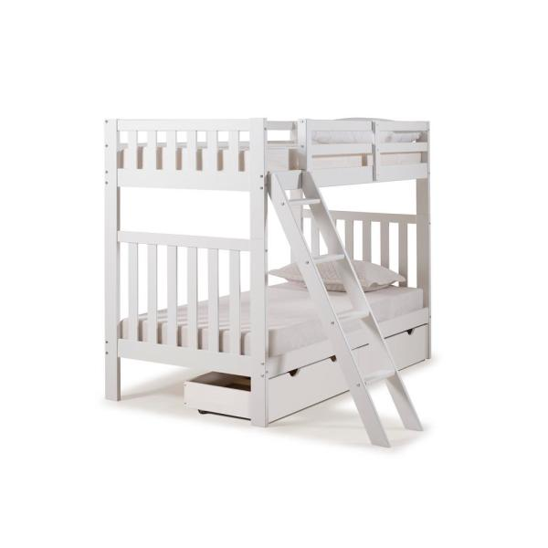 Alaterre Furniture Aurora White Twin Over Twin Bunk Bed with Storage
