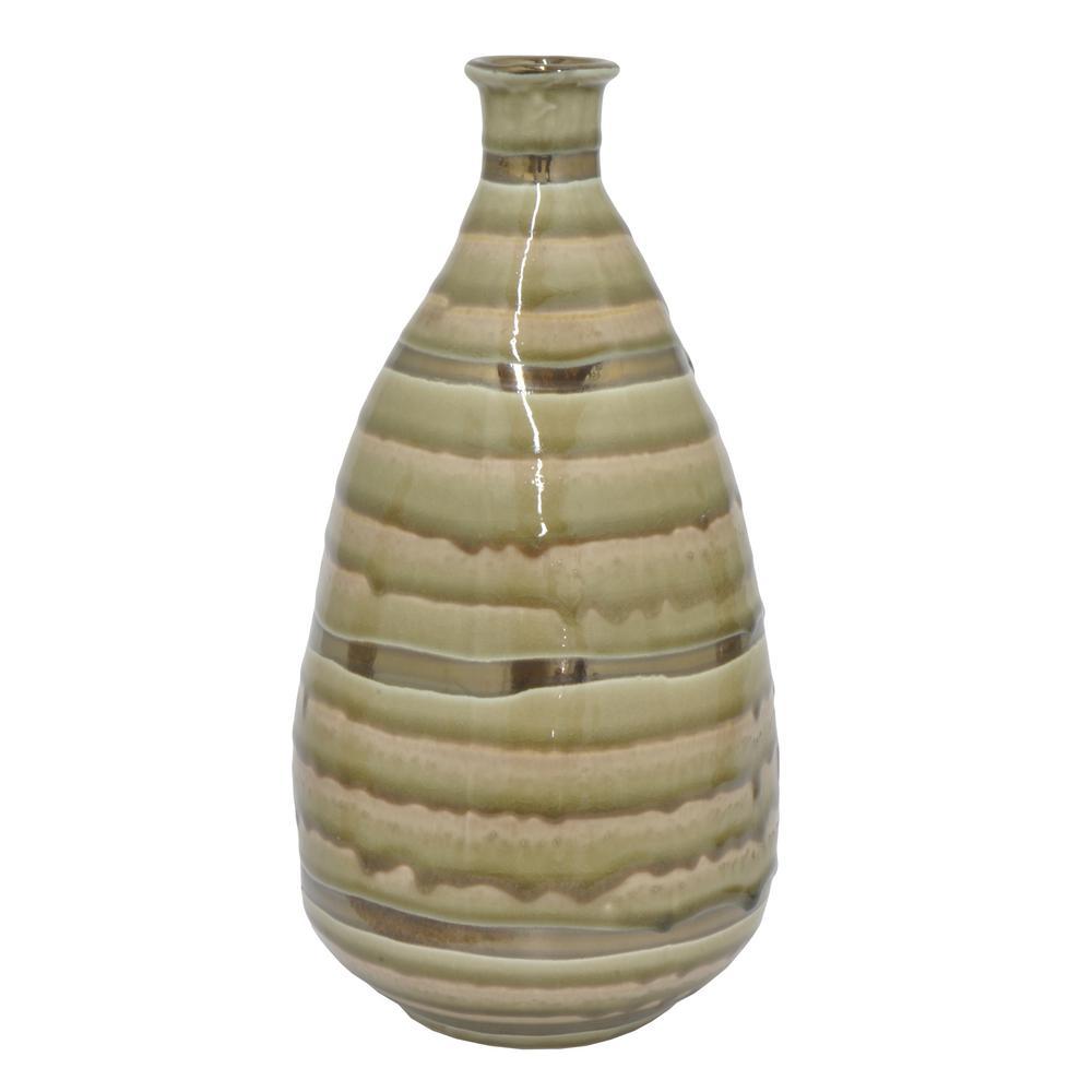 Gold and Ivory Ceramic Decorative Vase with Glossy Finish