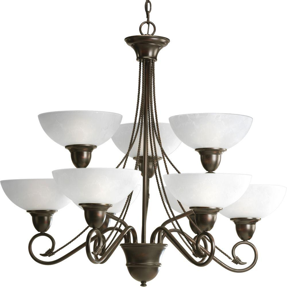 Etched Metal Lamp Shade: Progress Lighting Pavilion Collection 9-Light Antique