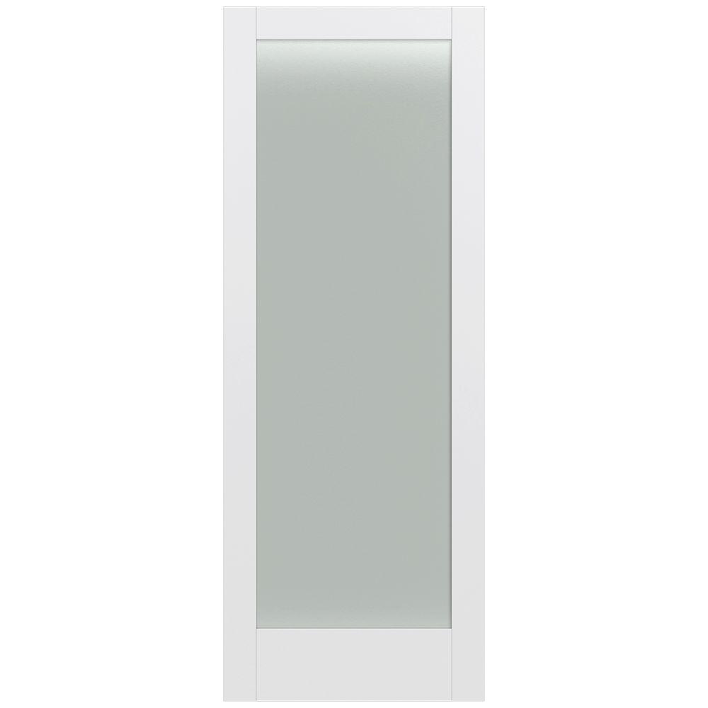 36 in. x 96 in. MODA Primed PMT1011 Solid Core Wood Interior Door Slab w/Translucent Glass