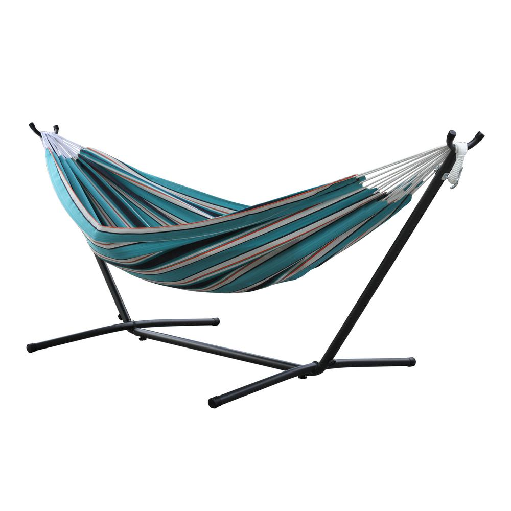 Vivere 9 Ft Sunbrella Double Hammock With Stand In Token