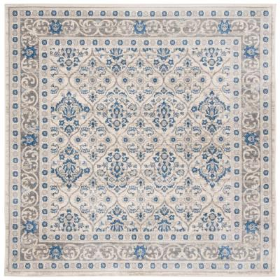 Brentwood Light Gray/Blue 5 ft. x 5 ft. Square Area Rug