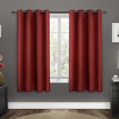 Sateen 52 in. W x 63 in. L Woven Blackout Grommet Top Curtain Panel in Chili (2 Panels)