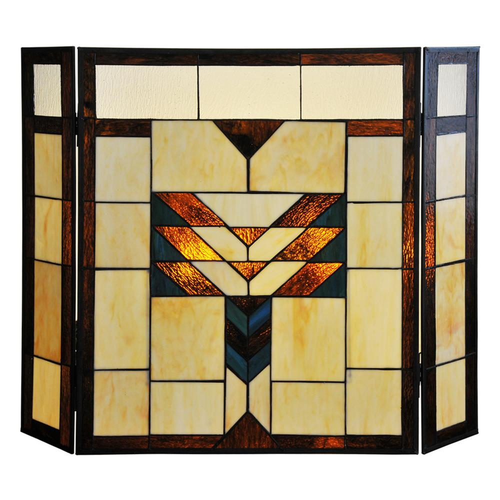 River of Goods Mission Style Stained Glass 3-Panel Fireplace Screen