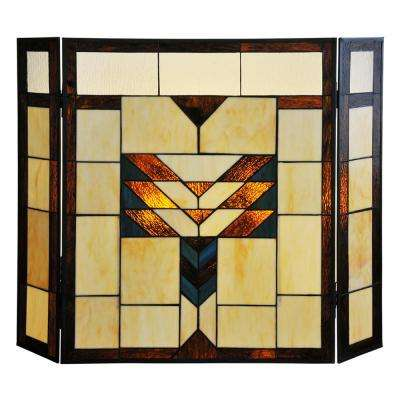 Mission Style Stained Glass 3-Panel Fireplace Screen