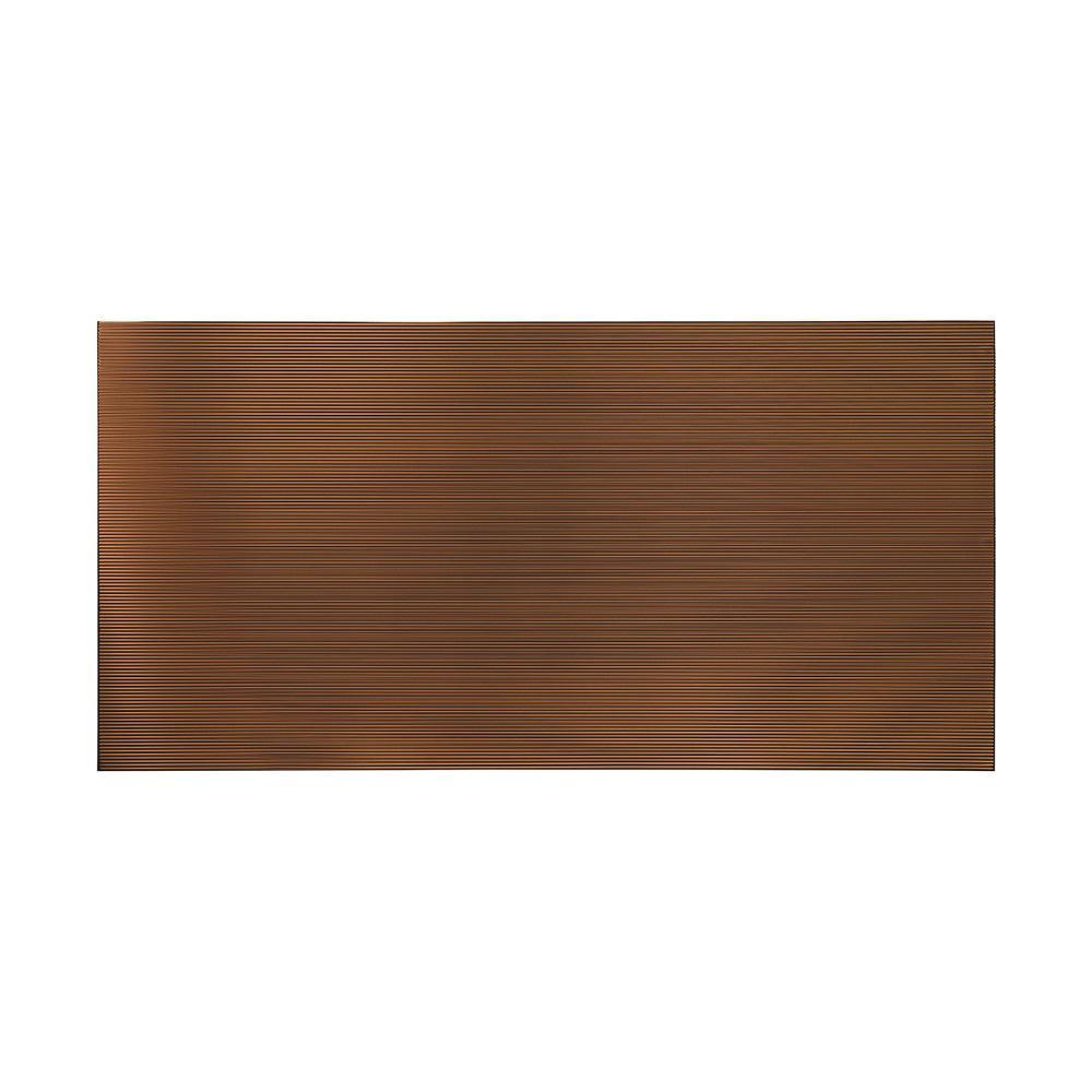 Fasade 96 in. x 48 in. Rib Decorative Wall Panel in Oil Rubbed Bronze