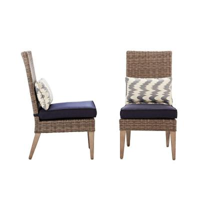 Naples Grey All-Weather Wicker Outdoor Parson Dining Chair with Navy Cushions (Set of 2)