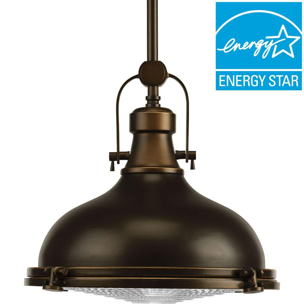 Progress lighting bronze pendant lights lighting the home depot fresnel lens collection 1 light oil rubbed bronze integrated led mini pendant with fresnel lens aloadofball Image collections
