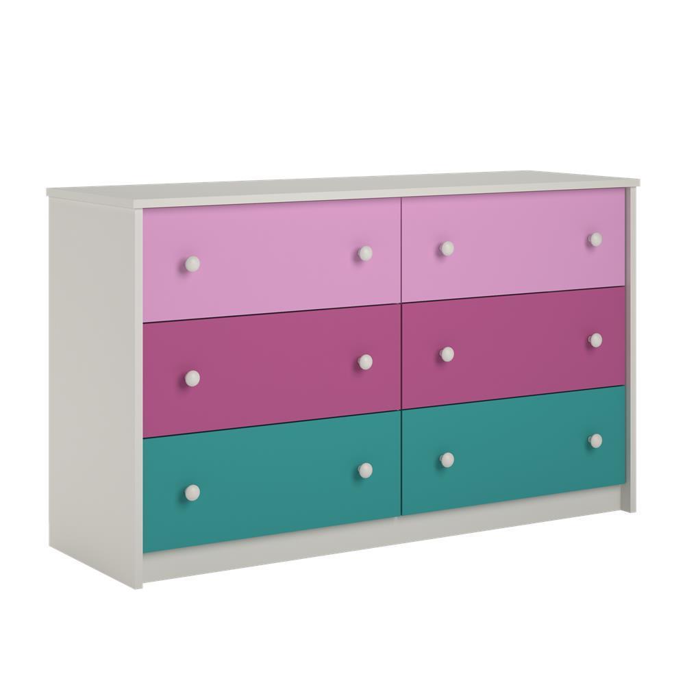 Valentine 6-Drawer Pink Dresser