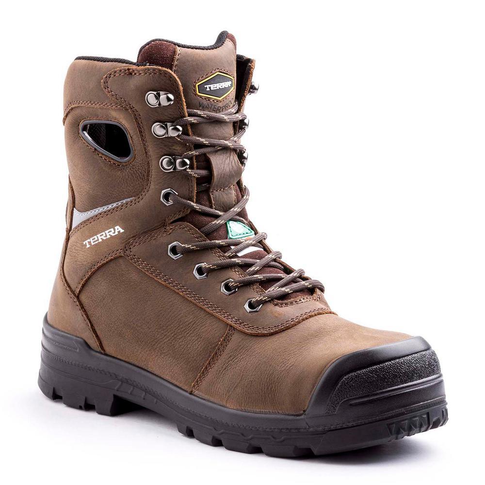 Terra Pilot Men's Size 8.5 Brown Leather Work Boot